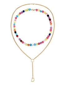 Fashion Color Alloy Chain Glass Bead Double Layer Y Necklace