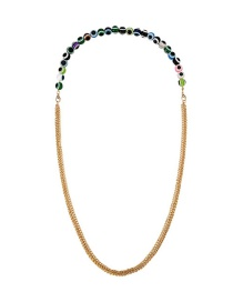 Fashion Color Alloy Chain Glass Bead Necklace
