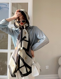 Fashion Love Five-pointed Star Cotton And Linen Shawl Sunscreen Silk Scarf