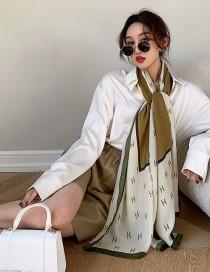 Fashion Armygreen Thin Cotton And Linen Printed Silk Scarf