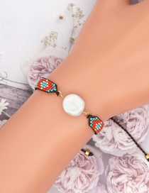 Fashion Color Pearl Rice Bead Woven Pattern Beaded Bracelet