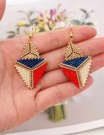 Fashion Color Rice Bead Woven Beaded Color Matching Geometric Earrings