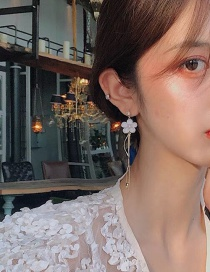 Fashion Gold Color Small Daisy Flower Tassel Earrings