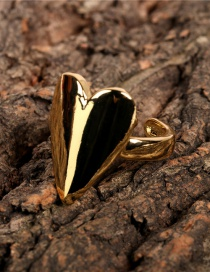 Fashion Gold Color Heart-shaped Glossy Brass K-plated Open Ring