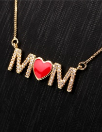 Fashion Red Heart Shaped English Mama Letter Necklace