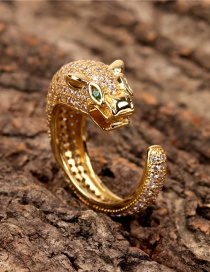 Fashion Gold Color Bronze And Diamond Leopard Head Ring