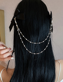 Fashion Black Bow Hairpin Double Bow Pearl Hairpin