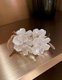 Fashion Champagne Hairpin Acrylic Crystal Pearl Flower Clip