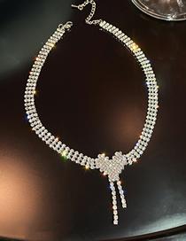 Fashion Silver Color Necklace Full Diamond Love Tassel Necklace