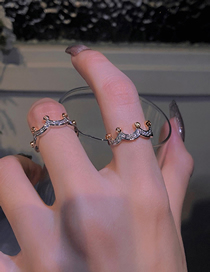 Fashion Silver Color Ring Crown Zircon Open Ring