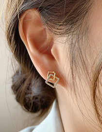 Fashion Silver Color Needle Gold Real Gold Electroplated Diamond Geometric Stud Earrings