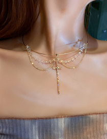 Fashion Gold Color Collar Crystal And Diamond Cross Necklace