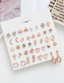 Fashion Gold Color Geometric Alloy One Card Multiple Pairs Of Earrings Set