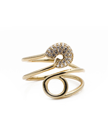 Fashion Golden Paperclip Wrapped Around Diamond Ring