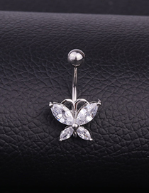 Fashion White Stainless Steel Inlaid Zircon Butterfly Belly Button Nail