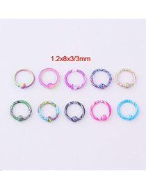 Fashion Universal Ring (mixed Color 10/set) Stainless Steel Piercing Jewelry With Paint Water Pattern Ring