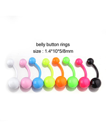 Fashion 8 Colors/set Belly Button Nails Painted Stainless Steel Belly Button Nails