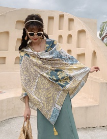 Fashion Yellow And Blue Flowers Sunscreen Oversized Cotton And Linen Shawl Silk Scarf