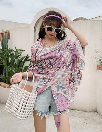 Fashion Pink Flowers Cotton And Linen Thin Sunscreen Shawl Silk Scarf