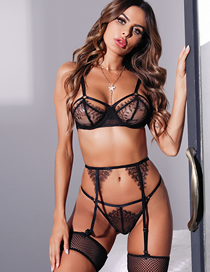 Fashion Black Three-piece Lace Stitching Mesh Underwear