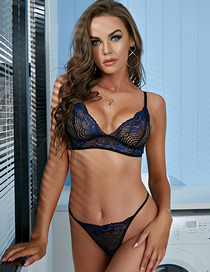 Fashion Royal Blue Two-tone Lace Underwear Set