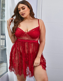 Fashion Red Wine Oversized Lace Nightdress