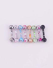 Fashion Ear Bone Sticks (8 Mixed Colors) Painted Stainless Steel Spherical Barbell Earrings