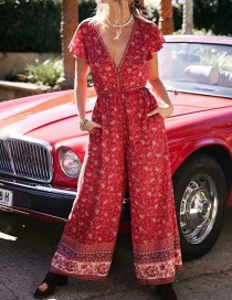 Fashion Red Printed Jumpsuit