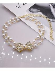 Fashion White Bowknot Diamond Pearl Necklace