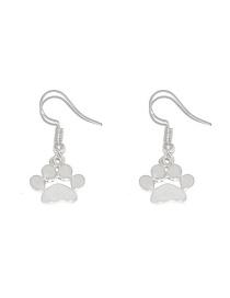 Fashion Silver Animal Dog Print Paw Print Earrings