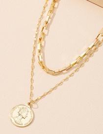 Fashion Golden Portrait Pendant Double Necklace