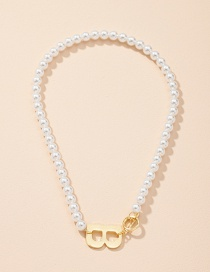 Fashion Pearl Necklace Letter Pendant Pearl Necklace