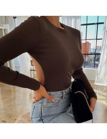 Fashion Brown Long Sleeve Round Neck Open Back Solid Color Bodysuit