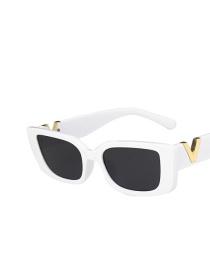 Fashion Real White Gray Flakes Small Frame Square Sunglasses