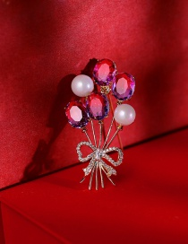 Fashion 18k Gold Pearl Balloon Bow Inlaid With Zircon Brooch