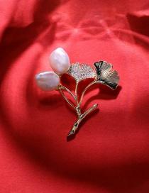Fashion 18k Gold Ginkgo Leaf Inlaid Zircon Pearl Brooch