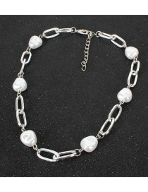 Fashion Silver Shaped Pearl Square Necklace