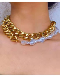 Fashion Golden Pearl Chain Multi-layer Golden Necklace