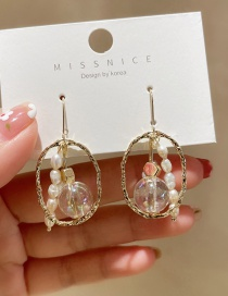 Fashion White Oval Pear Flower Round Bead Hollow Pearl Earrings