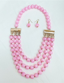 Fashion Pink Round Bead Necklace And Earring Set