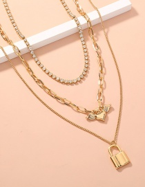 Fashion Golden Diamond Stacked Angel Wings Love Heart Lock Necklace