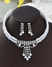 Fashion White Two-piece Necklace Earrings And Pearl Set