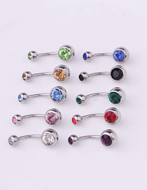 Fashion Light Blue Piercing Stainless Steel Body Belly Nail Abdomen Double Drill Belly Button Nail Umbilical Ring