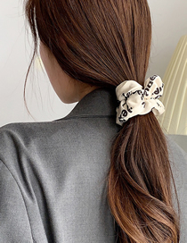 Fashion White Letters Letter Print Large Intestine Hair Tie Large