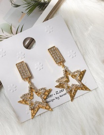 Fashion Golden Alloy Diamond Five-pointed Star Stud Earrings