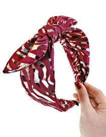 Fashion Red Wine Striped Bronzing Bow Headband