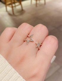 Fashion White Gold Five-pointed Star Open Ring