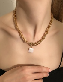 Fashion Gold-necklace Resin Square Necklace