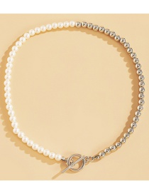 Fashion Silver White Ot Buckle Stitching Pearl Necklace