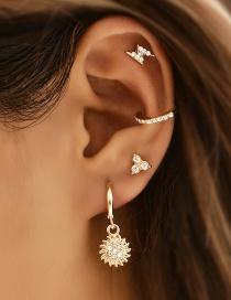 Fashion Golden Copper Full Diamond Sun Earrings